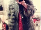2012新款 韩国订单羊毛呢拼接狐狸毛皮草外套 皮草大衣