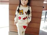 秋款女童套装 儿童卫衣套装 纯棉韩版长袖两件套 毛巾绣童套装