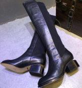 欧美原单2014秋季新款女靴圆头粗跟低跟时尚潮真皮高筒罗马靴子
