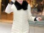 一件代发 新款女装单排扣蕾丝袖口中长款修身羽绒服女批发供应38