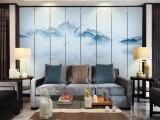 酒店包间硬包皮革壁画 中式工笔花鸟无缝背景墙墙布