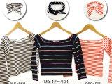 2014夏snidel同款彩色条纹五分袖T恤带发带发箍两件套