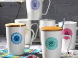 卡通创意蕾丝边陶瓷马克杯 多彩大容量咖啡