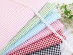 纯棉斜纹全棉印花床品布料手工面料批发 粉绿蓝红中国红黑白格子