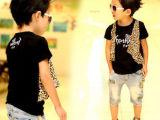 童装男童夏装2014新款 儿童T恤 豹纹假两件宝宝韩版短袖T恤