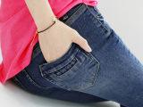 韩版春秋小脚牛仔裤女 春款女式中腰牛仔裤弹力修身百搭铅笔长裤