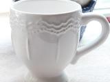 外贸出口欧美浮雕陶瓷杯子 马克杯 咖啡杯 白色