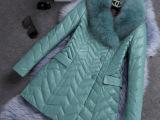 2014冬季女装新品,欧美大牌高级定制真皮狐狸毛中长款皮衣外套