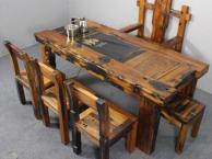 盐城市老船木茶桌椅子仿古茶台实木沙发茶几餐桌办公桌家具博古架