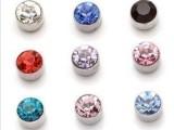 锆石水钻磁吸耳钉 磁铁耳钉 无耳洞 一对价 宝石吸铁耳环
