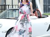 欧美风新款连衣裙 印花无袖雪纺大摆裙 厂家直销代理加盟一件代发