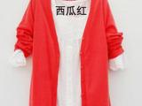 大额批发 外贸女装艾格韩版开衫长袖长款针织衫 秋纯棉外套 爆款