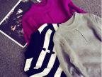 UB044  2014秋冬新款韩国百搭时尚胸前镂空修身显瘦针织衫