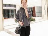 2016女士中袖t恤新款纯棉高领上衣日韩