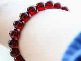 宝忠珠宝 正品天然水晶 极品酒红石榴石手串 美容养颜 女款手链