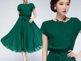 外贸批发 2013 最新款欧美风 明星大牌短袖雪纺中裙 连衣裙