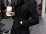 2014年冬季新款气质修身超长款双排扣毛呢大衣外套