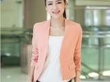 2013春夏季新款韩版修身纯色V领褶皱长袖短款外套西装4色批发