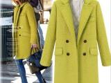欧美女装2014秋冬新款时尚宽松加厚双排扣毛呢大衣中长款外套上衣