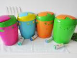 厂家直销 现货批发可爱家用大号爱心塑料垃圾桶糖果色垃圾筒580g