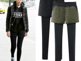 冬季加绒打底裤女外穿假两件短裤秋冬款加厚