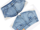 2015春装韩版低腰牛仔裤女显瘦高弹力牛仔裤女深色裤时尚高档短裤
