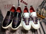 特色牛漆印花图案全真皮高端休闲男鞋厂家直供特价批发平底皮鞋!