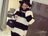 2015春装新款韩版经典黑白条纹宽松中长款毛衣女套头针织衫