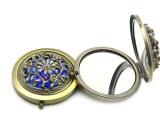 古铜仿古明星化妆镜子 方便携带化妆镜子生产厂家 带钻双面镜子