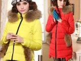 2013冬季新款热销 韩版女式羽绒服 长短款貂子毛连帽羽绒衣