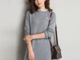 韩国冬女式中长款加厚蕾丝荷叶领毛衣大码女装打底针织衫潮