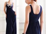 韩版新款宫廷奢华亮片点缀美背大U领长款洋装礼服