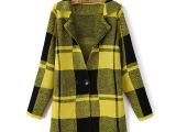 厂家批发 2004年秋装新品欧洲站大格子针织女式大衣千鸟格大衣