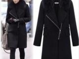 秋冬新款 绯闻女孩同款 超气质时尚毛领长款拉链毛呢外套大衣