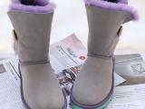 5803中筒羊皮毛一体真皮撞色ugg雪地靴女韩版可爱冬黑小贝灰小