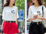 2014新款连衣裙韩版夏季修身雪纺短裙时尚短袖圆领裙子