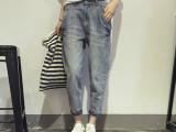 2015夏装新款 韩版大口袋水洗做旧宽松九分牛仔裤  夏季女哈伦