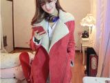 香港IT代购韩国SZ鹿皮绒羊羔毛外套秋冬女装机车皮毛皮衣 优质版