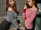 2014秋装新款长袖性感露肩上衣韩国条纹T恤小衫女