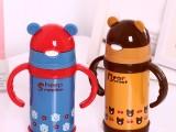 不锈钢卡通儿童壶 可爱带手柄保温壶 有吸管宝宝学饮杯