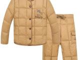 2014童装新款韩版儿童羽绒服套装 米白色可爱羽绒服厂家批发
