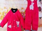 秋冬新款宝宝条绒棉服套装 儿童背带棉服 婴儿装 童棉衣批发532