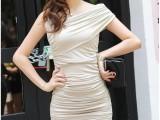 2014夏装新款女装 韩版热销斜肩修身包臀连衣裙性感优雅小礼服裙