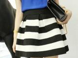 2013春秋装 欧美大牌高端品质条纹蓬蓬高腰半身裙/短裙 黑白