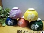日韩式米饭碗汤碗 陶瓷吉祥平安五色碗 五