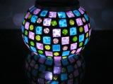 创意太阳能充电玻璃7彩台灯 LED礼品生日礼物台灯光控床头小夜灯