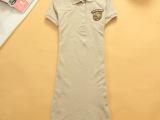 夏装小熊精品做工翻领纯棉大码A字裙连衣裙女生短袖连衣裙39700