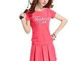 厂家直销2014夏季新款韩版时尚女装印花短袖两件套短裙修身套装