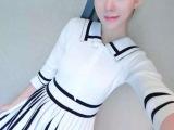 2015秋装新款 海军风翻领七分袖针织拼色连衣裙一件代发