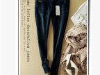 欧洲站外贸原单女式牛仔小脚裤 秋冬款精致做工G家修身铅笔裤